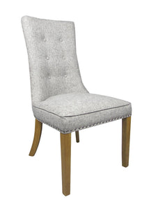 Newbury Grey Weave Fabric Dining Chair-fabric dining chairs-shankar-GoFurn Furniture Store Kent