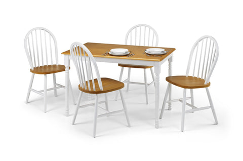 Nora Dining Set White & Oak-Dining Set by Julian Bowen