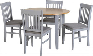 Oxford Extending Dining Set in Grey/Natural Oak/Grey Fabric-Dining Sets-Seconique-GoFurn Furniture Store Kent