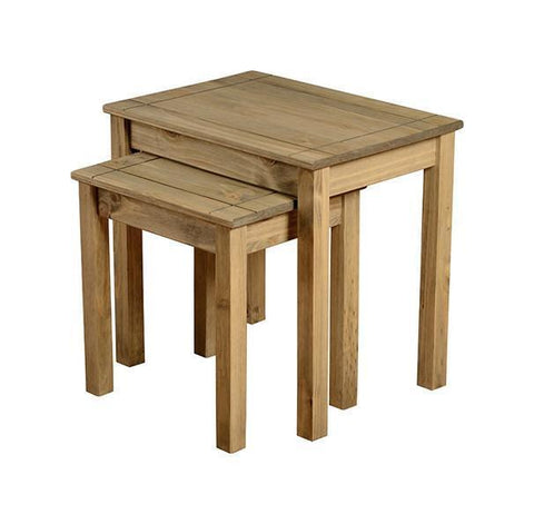 Panama Distressed Pine Nest of 2 Tables-pine nest of Tables-Seconique-GoFurn Furniture Store Kent