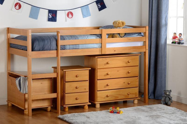 Panama Mid Sleeper Childrens Bed Pine-Childrens Mid Sleeper Beds-Seconique-GoFurn Furniture Store Kent