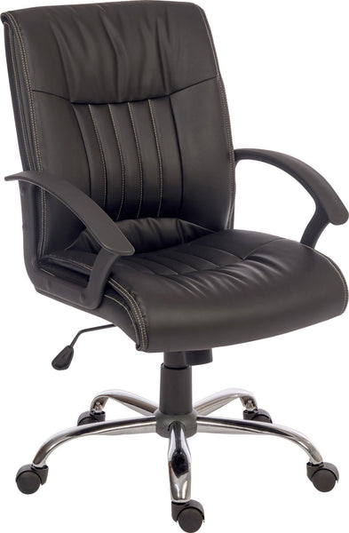 Pescara Executive Office Chair in Black-black faux leather executive office chair-teknik-GoFurn Furniture Store Kent