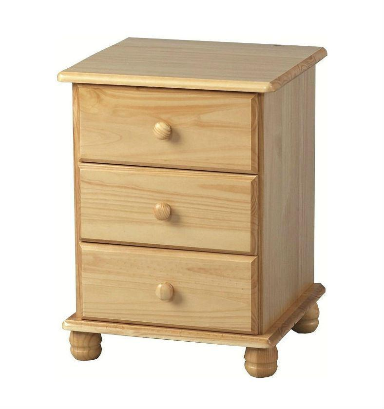 Sol Pine 3 drawer bedside cabinet-Pine Bedside Cabinet-Seconique-GoFurn Furniture Store Kent