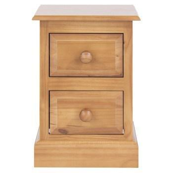 Norton Pine Narrow Petite 2 Drawer Bedside-pine bedside cabinets tables-core products-GoFurn Furniture Store Kent