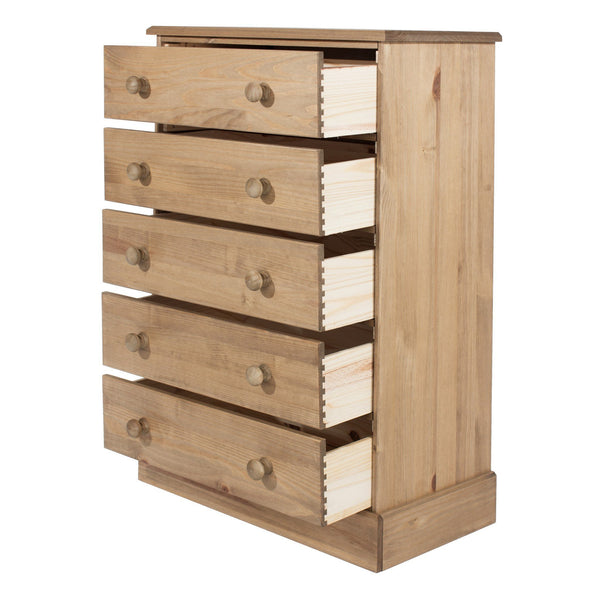 Cotswold Pine 5 Drawer Chest of Drawers-Pine Chest Of Drawers-core products-GoFurn Furniture Store Kent