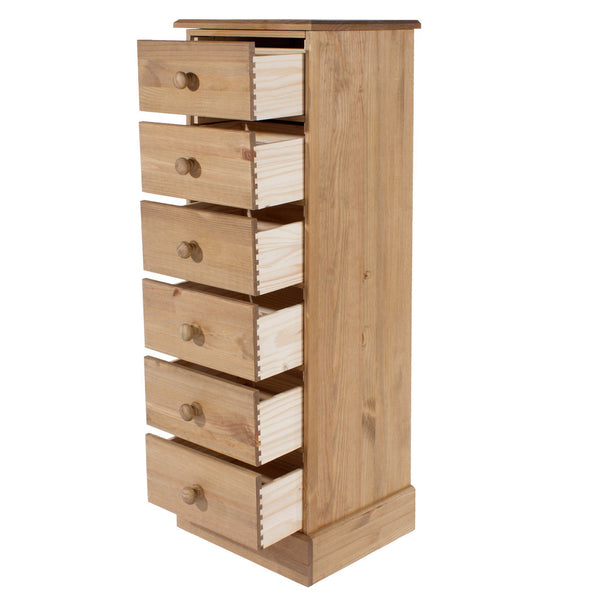 Cotswold Pine 6 Drawer Narrow Chest of Drawers-Pine tallboy Chest Of Drawers-core products-GoFurn Furniture Store Kent