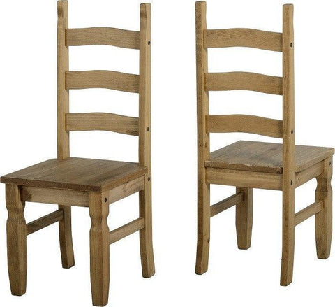 Corona Pine Dining Chairs Pair Brown, Black Seat Pads or All Wood-Pine Dining Chairs-Seconique-GoFurn Furniture Store Kent