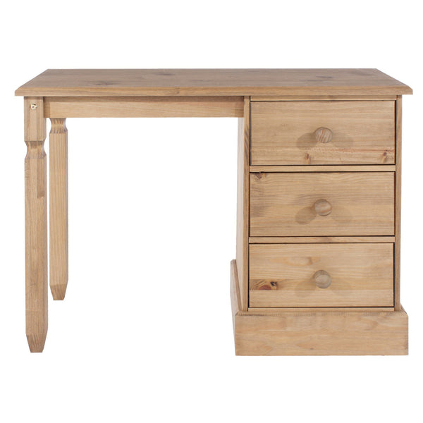 Cotswold Pine Single Pedestal Dressing Table-Pine Dressing Tables-core products-GoFurn Furniture Store Kent