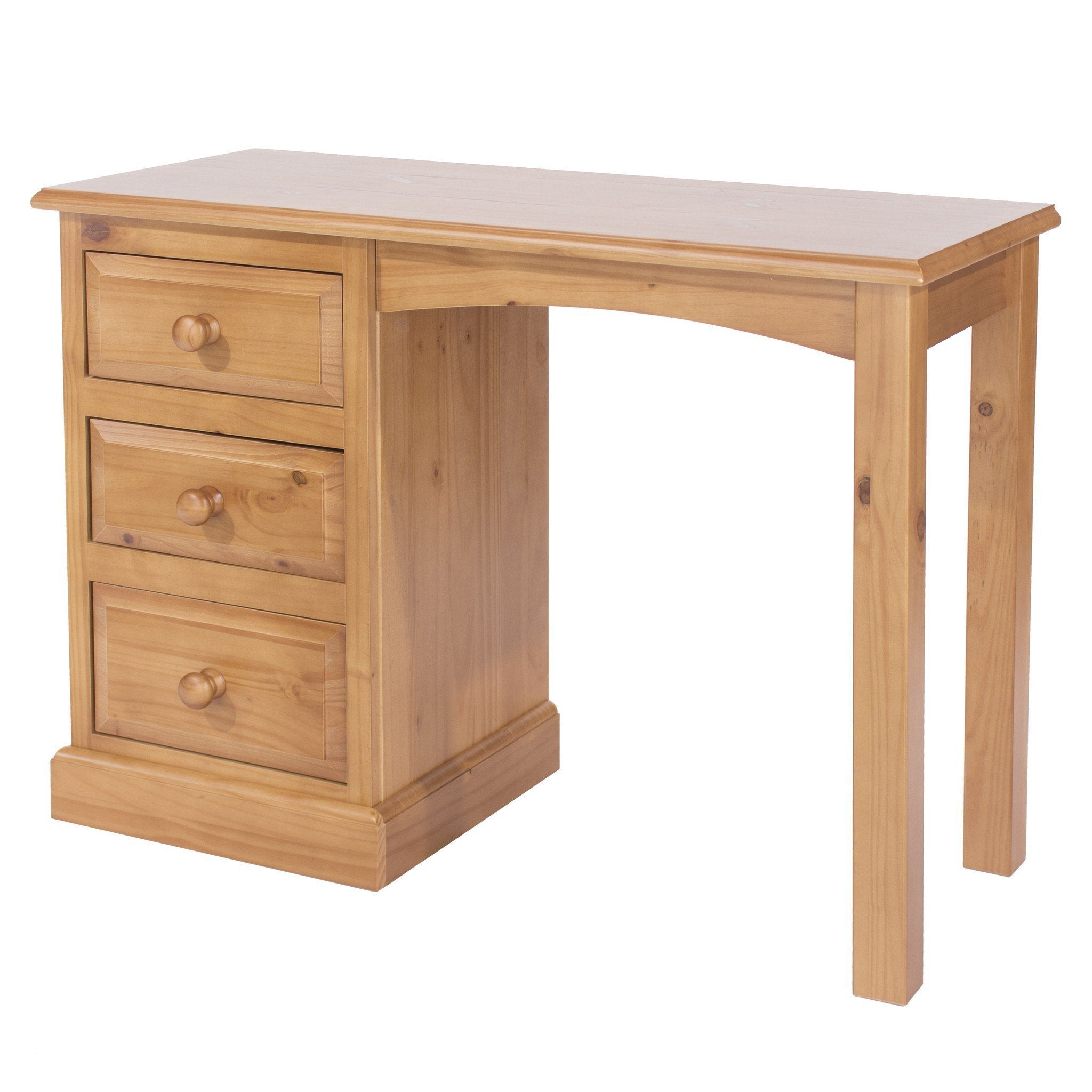 Norton Pine Single Pedestal Dressing Table-pine Dressing Tables-core products-GoFurn Furniture Store Kent