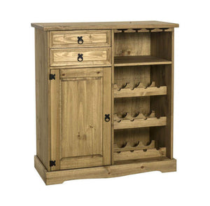 Corona Pine Sideboard and Wine Rack Unit-Pine Sideboard wine rack-Seconique-GoFurn Furniture Store Kent