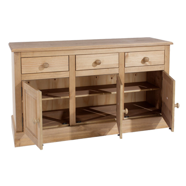 Cotswold Pine 3 Door 3 Drawer Sideboard-Pine Sideboards-core products-GoFurn Furniture Store Kent