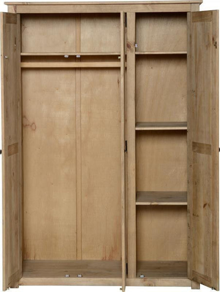 Panama Solid Pine Distressed Waxed 3 Door Wardrobe-Pine Wardrobe-Seconique-GoFurn Furniture Store Kent