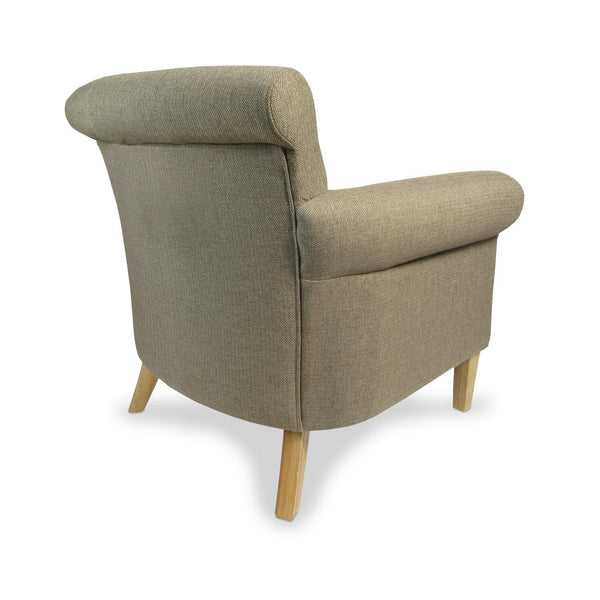 Pittsburgh Herringbone Brown Fabric Armchair-Armchairs-shankar-GoFurn Furniture Store Kent