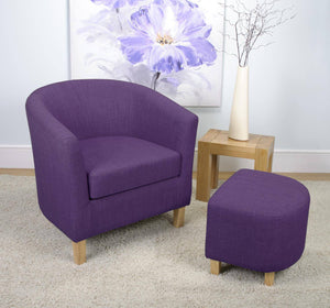 Tub Chair and Stool Linen Style Purple Plum Fabric-Purple Tub bucket chairs-shankar-GoFurn Furniture Store Kent