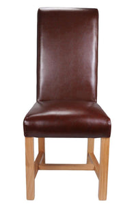 Richmond Brown Leather Dining Chair-Bonded leather dining chairs-shankar-GoFurn Furniture Store Kent