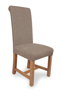 Richmond Herringbone Brown Fabric Dining Chair-fabric dining chairs-shankar-GoFurn Furniture Store Kent