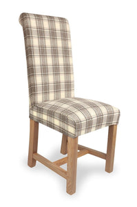 Richmond Herringbone Check Brown Fabric Dining Chair-fabric dining chairs-shankar-GoFurn Furniture Store Kent