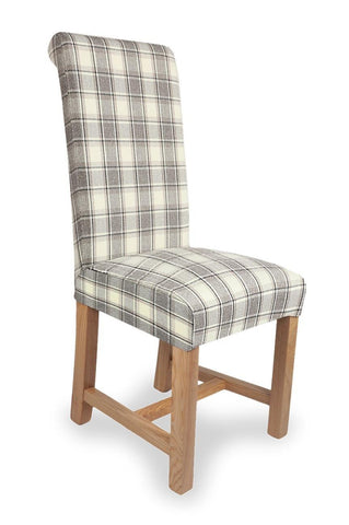 Richmond Herringbone Check Cappuccino Fabric Dining Chair-fabric dining chairs-shankar-GoFurn Furniture Store Kent