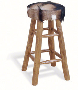Safari Tall Natural Hide Stool Round-kitchen breakfast wooden bar stools-bluebone-GoFurn Furniture Store Kent