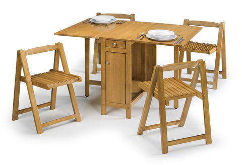 Savoy Dining Set Light Oak Butterfly small Stowaway Set by Julian Bowen at GoFurn