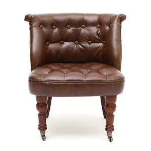 Shannon Antique Leather Match Accent Chair-accent chair leather match antique brown-shankar-GoFurn Furniture Store Kent