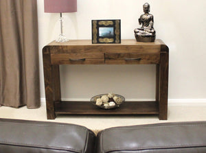 Shiro Solid Walnut Console Table-home office storage console-Baumhaus-GoFurn Furniture Store Kent