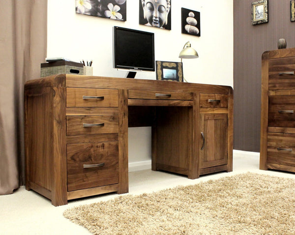 Shiro Solid Walnut Large Home Office Desk-home office desk-Baumhaus-GoFurn Furniture Store Kent