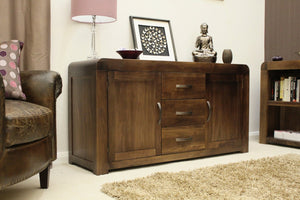 Shiro Solid Walnut Large Sideboard-home office storage sideboard-Baumhaus-GoFurn Furniture Store Kent