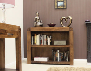 Shiro Solid Walnut Low Bookcase-home office storage bookcase-Baumhaus-GoFurn Furniture Store Kent