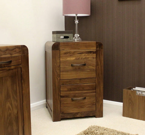 Shiro Solid Walnut Range Two Drawer Filing Cabinet-walnut filing cabinets-Baumhaus-GoFurn Furniture Store Kent