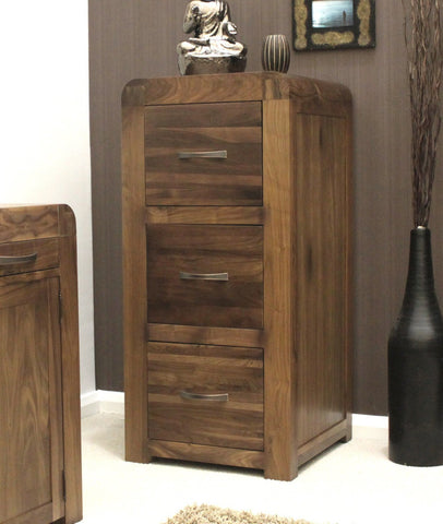 Shiro Solid Walnut Three Drawer Filing Cabinet-walnut filing cabinets-Baumhaus-GoFurn Furniture Store Kent