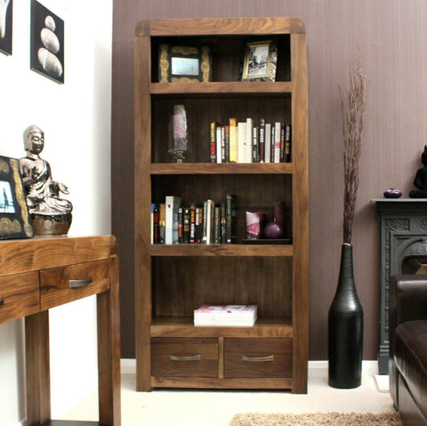 Shiro Walnut Large Two Drawer Bookcase-home office storage bookcase-Baumhaus-GoFurn Furniture Store Kent