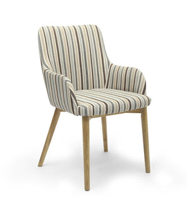 Sidcup Duck Egg Blue Stripe Fabric Dining Chair-fabric dining chairs-shankar-GoFurn Furniture Store Kent