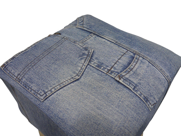 Signature Denim Square Low Stool-Denim Low Stool-bluebone-GoFurn Furniture Store Kent