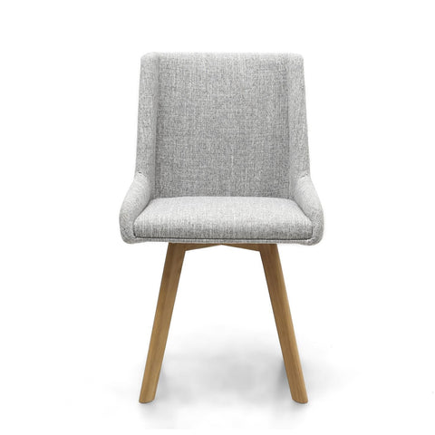 Skandi Grey Weave Fabric Dining Chair-fabric dining chairs-shankar-GoFurn Furniture Store Kent