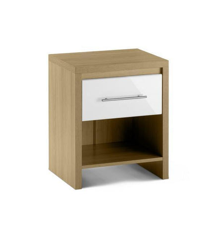 Stockholm Light Oak & Gloss White 1 Drawer Bedside Cabinet-Bedside Cabinets-Julian Bowen-GoFurn Furniture Store Kent
