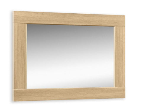 Stockholm Light Oak Wall Mirror-Mirrors-Julian Bowen-GoFurn Furniture Store Kent