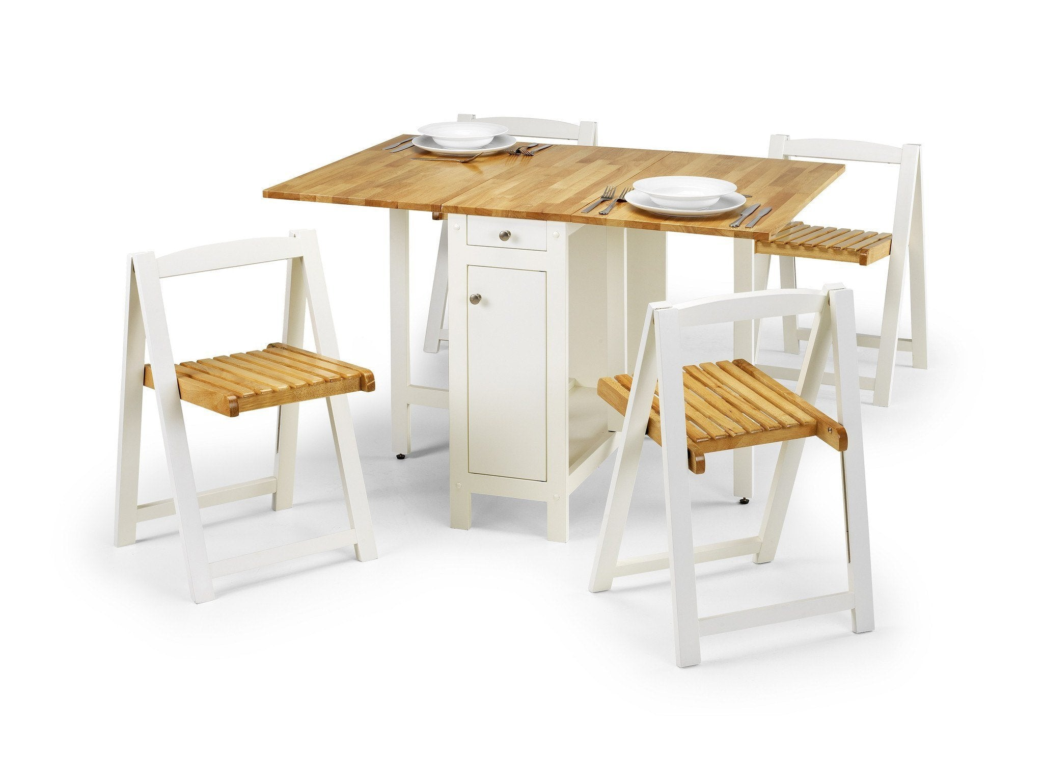 Savoy Dining Set White Natural Stowaway butterfly Set by Julian Bowen at GoFurn in Kent