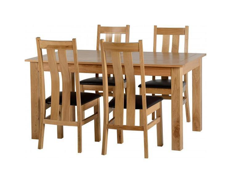 Stratford Solid Oak Dining Set with 4 Chairs-Dining Sets-Seconique-GoFurn Furniture Store Kent