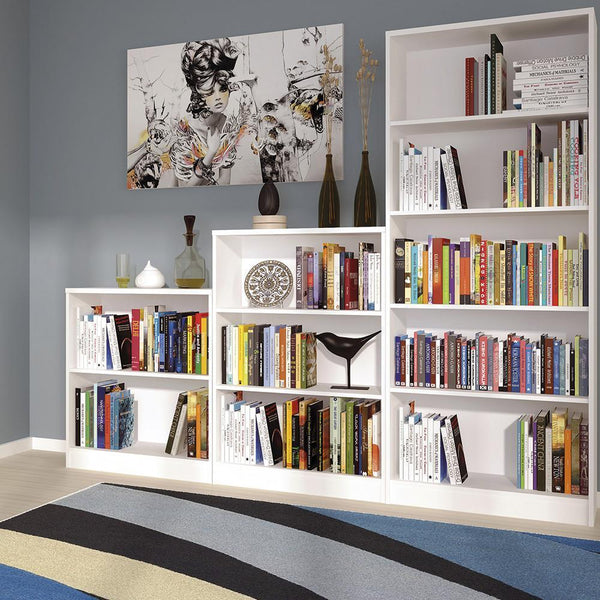 Sutton Low Wide Bookcase in Pearl White-bookcases-furniture to go-GoFurn Furniture Store Kent