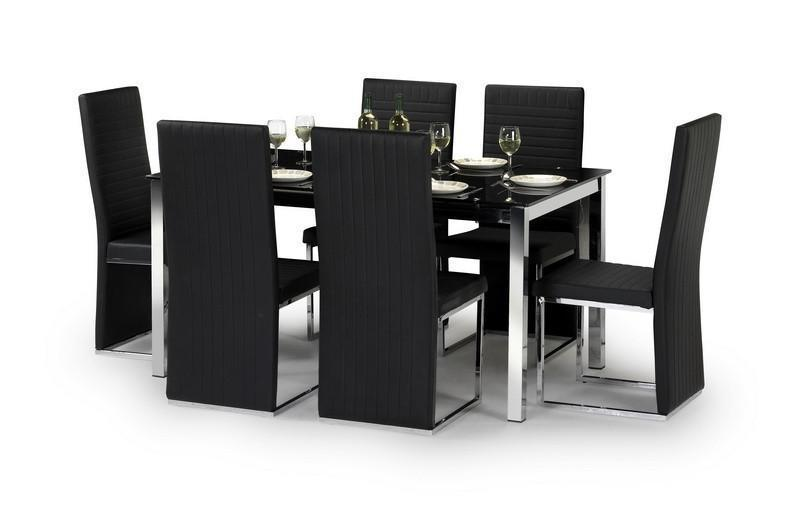 Tempo Chrome Black Glass Dining Set with 6 Chairs-black glass Dining Sets-Julian Bowen-GoFurn Furniture Store Kent