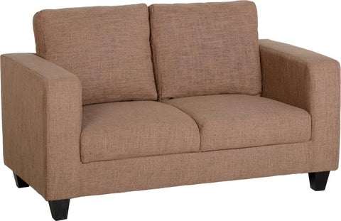 tempo sofa small petite 2 seater in sand fabric by seconique