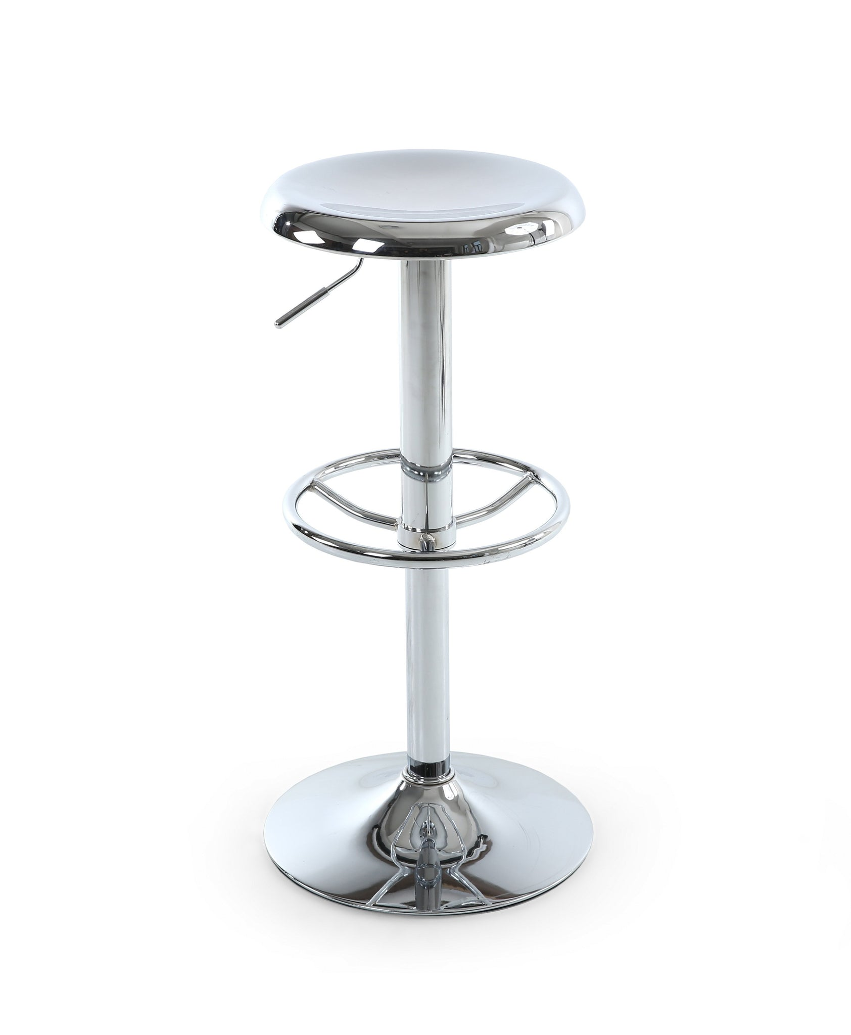 Titanium Metal Bar stool in polished chrome-Bar Stool contemporary polished finish-shankar-GoFurn Furniture Store Kent