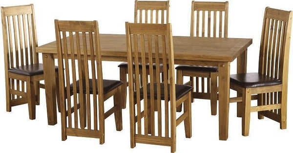 Tortilla Large Dining Table Rustic Chunky Pine with Tortilla Dining Chairs