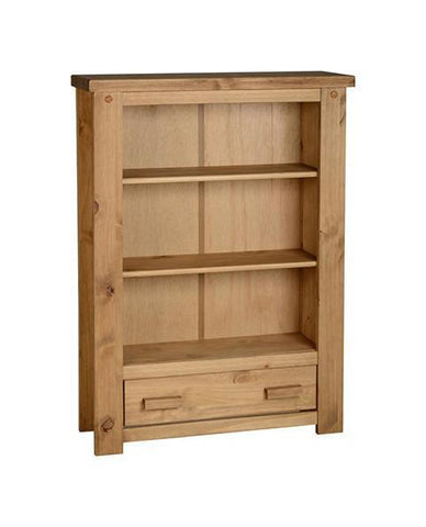 Tortilla Solid Chunky Pine Low Bookcase by Seconique at GoFurn