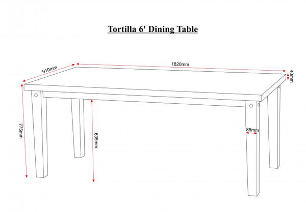 Tortilla Large Dining Table measurements guide