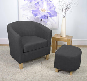 Tub Chair and Stool Charcoal Linen Style Fabric Armchair-Tub bucket chairs-shankar-GoFurn Furniture Store Kent