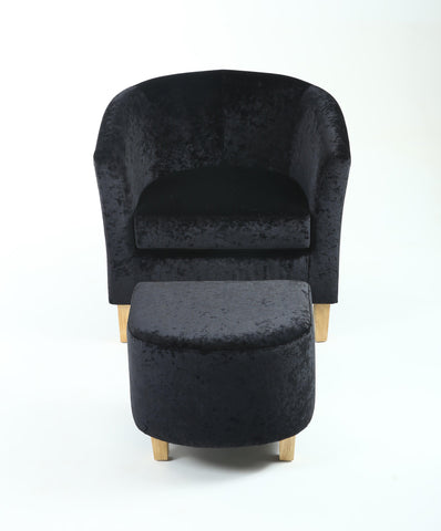 Tub Chair and Stool Black Crushed Velvet Armchair-tub chairs velvet armchairs-shankar-GoFurn Furniture Store Kent