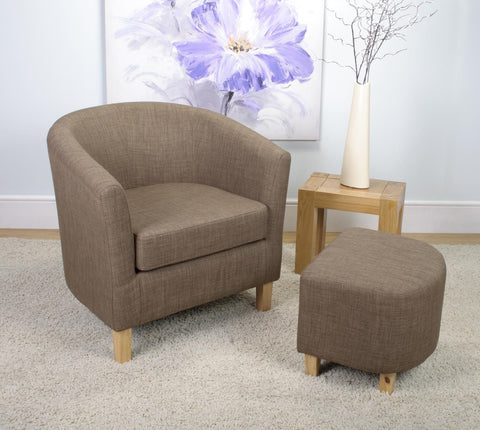 Tub Chair and Stool Cinnamon Linen Style Fabric Armchair-Tub bucket Chairs-shankar-GoFurn Furniture Store Kent