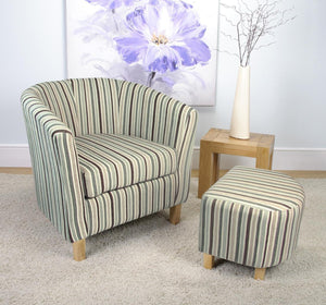 Tub Chair and Stool Duck Egg Blue Stripe Fabric Armchair-Tub bucket Chairs-shankar-GoFurn Furniture Store Kent
